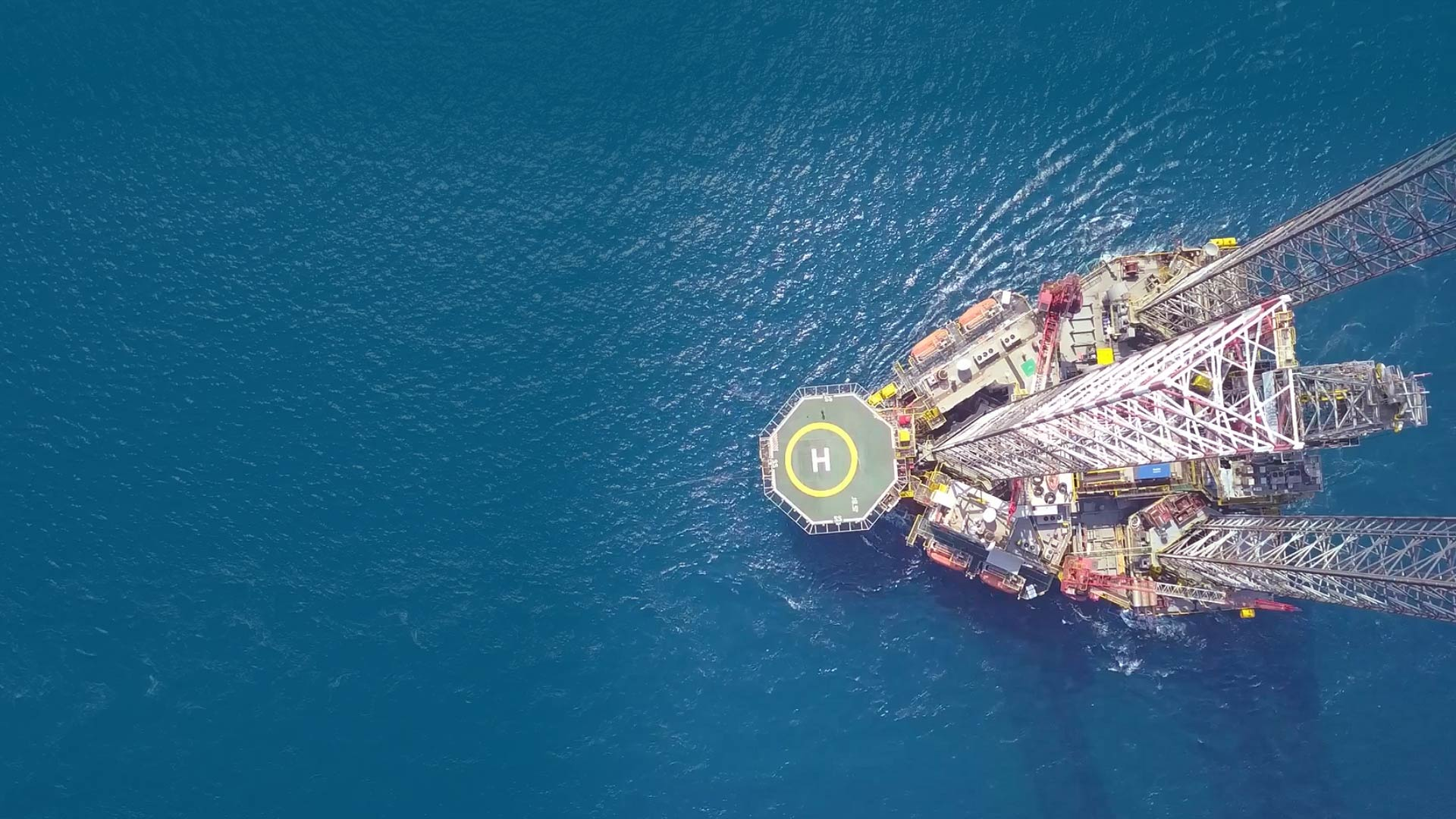 Aerial view of offshore platform